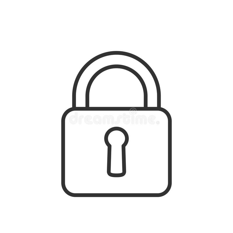 Closed Padlock Outline Flat Icon on White stock illustration