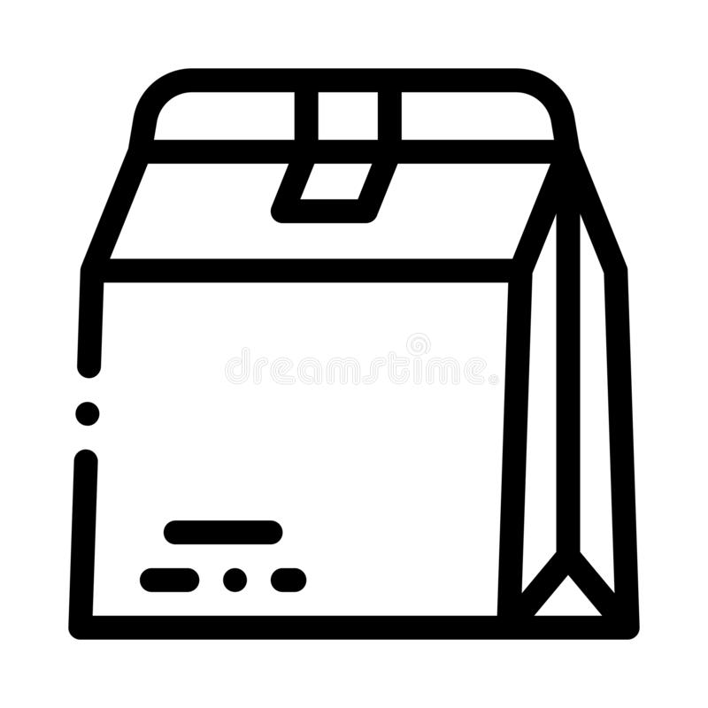 Closed Paper Bag For Food Packaging Vector Icon vector illustration