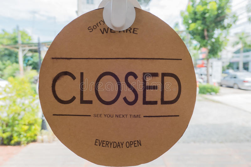 """""""CLOSED"""" Paper label vintage style On the glass stock images"""