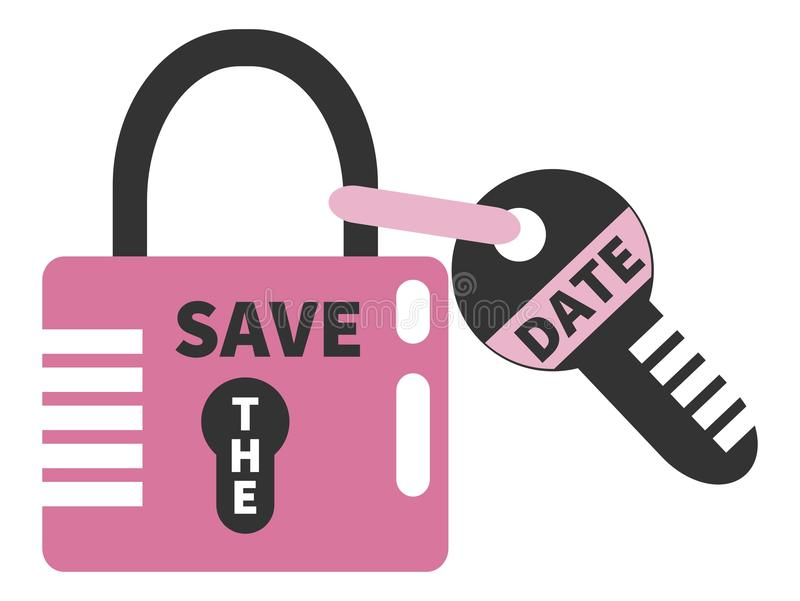 Closed pink padlock and key with words SAVE THE DATE. Design element. Isolated on white background vector illustration
