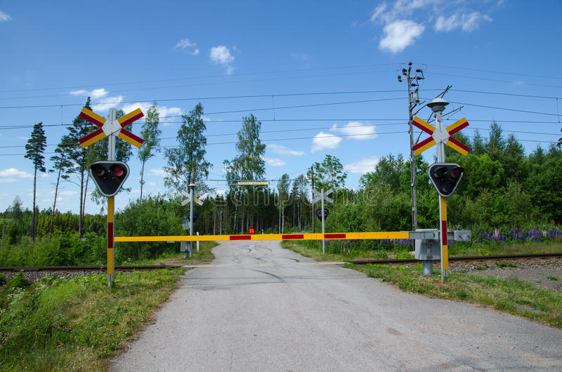 Closed Railroad Crossing Stock Photo - Image 55783139