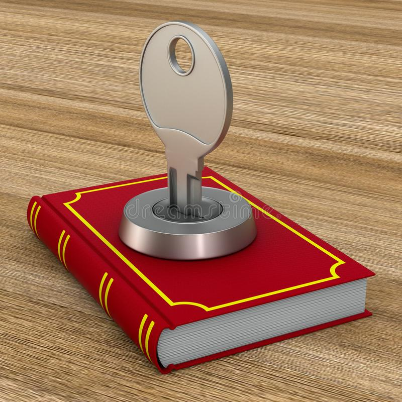 Closed red book with key on wooden surface. 3D illustration.  vector illustration
