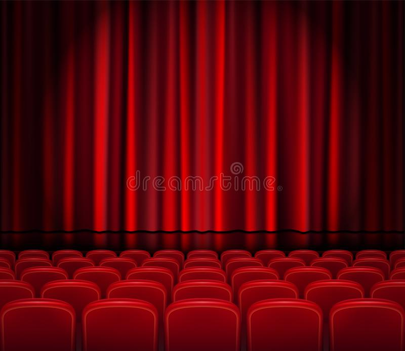 Closed Red Curtains with Seats in a theater or ceremony. Realistic Theater hall, Opera or Cinema Scene for your design royalty free illustration