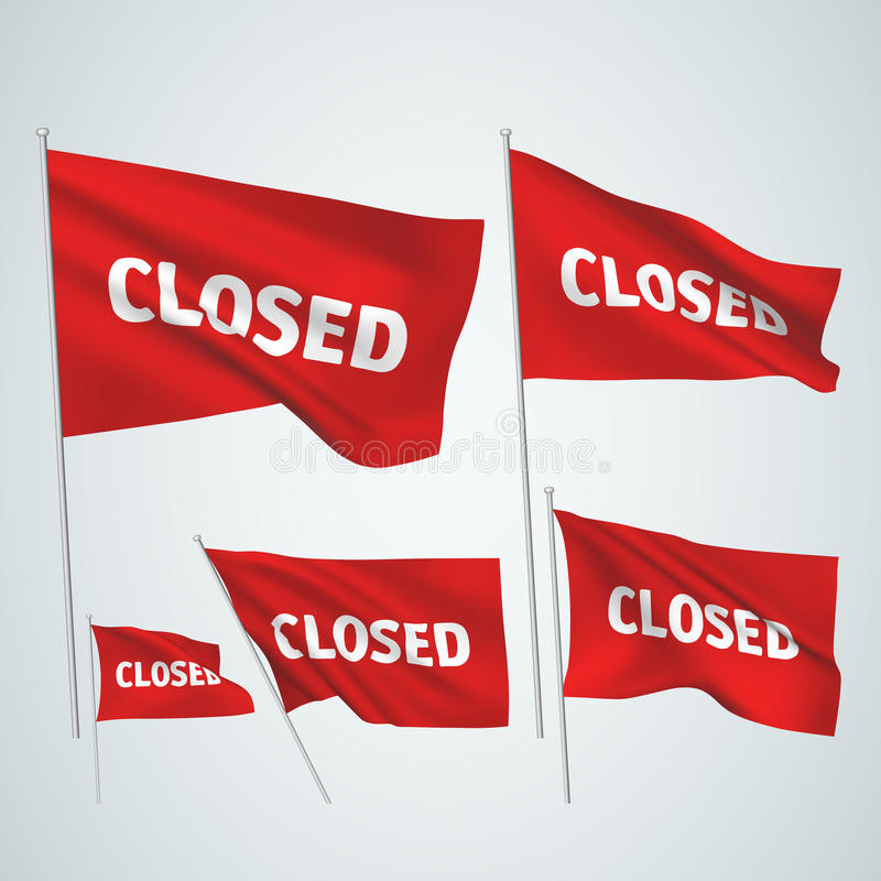 Closed - red vector flags. A set of wavy 3D flags created using gradient meshes. EPS 8 vector vector illustration