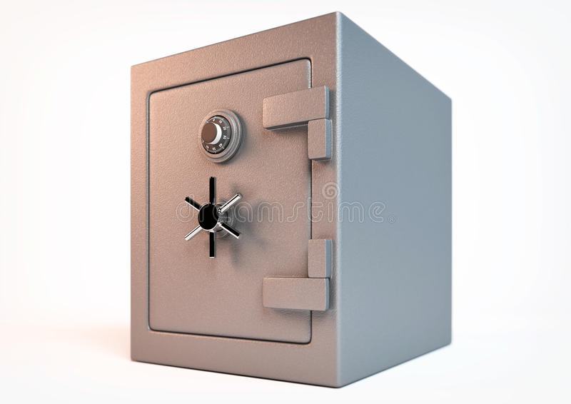 Closed safe. 3d rendering of an closed safe