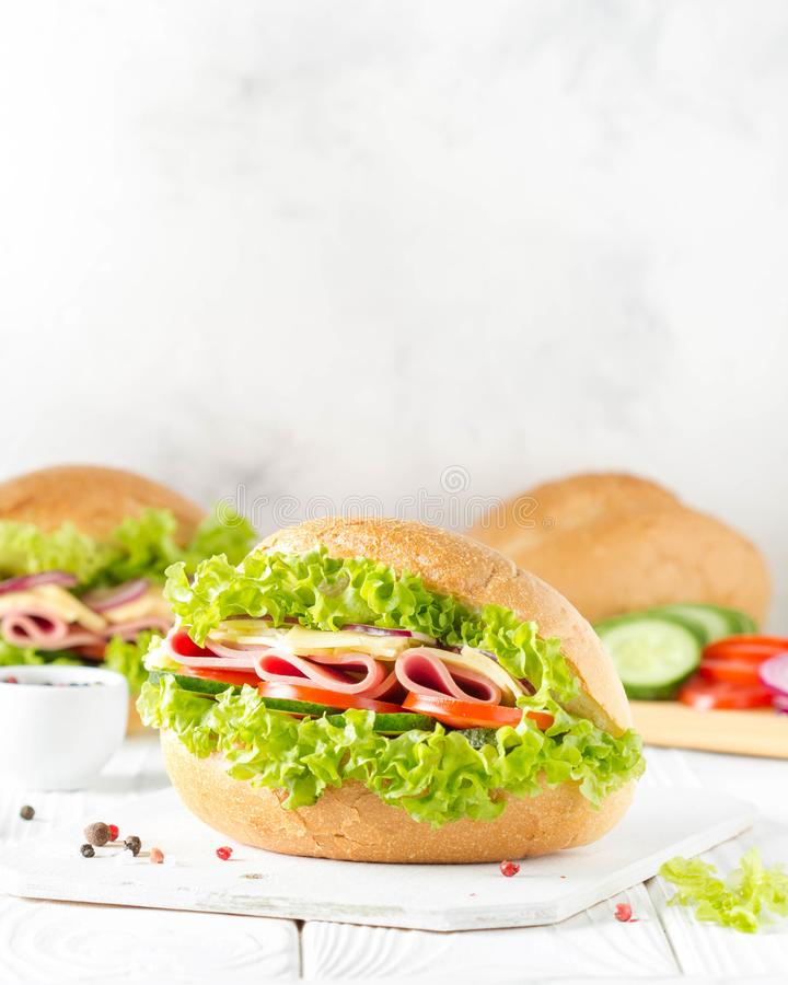 Closed sandwich in bun with ham, cheese, lettuce, tomato, cucumber, red onion. Delicious breakfast, classic lunch royalty free stock photos