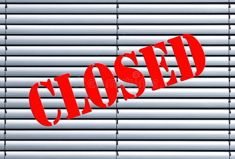 Closed shop or business stock images