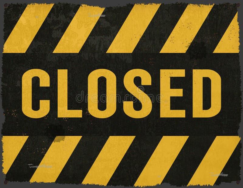 Closed Sign Grunge Tin Warning Stripes stock photography