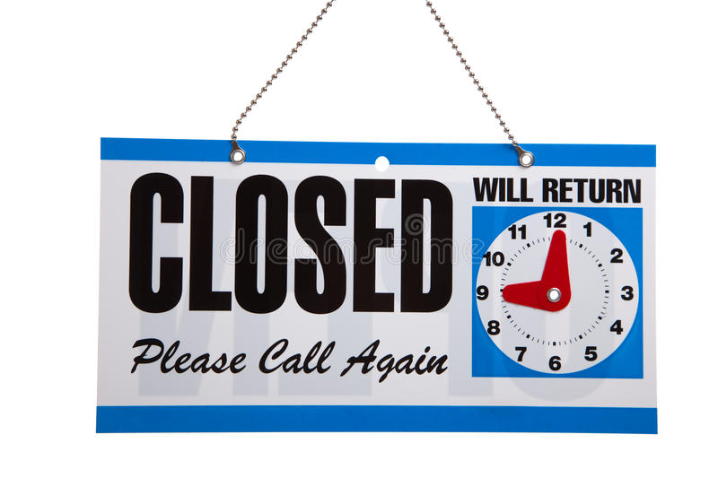 Closed Sign on a white background stock image