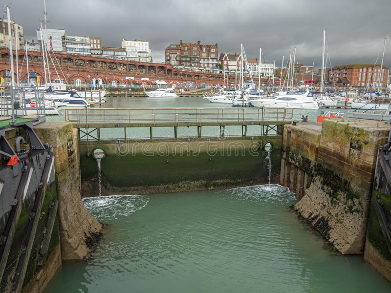 Closed sluice gate leading to the inner basin of Ramsgate Royal Harbour, In Kent, UK.  royalty free stock images