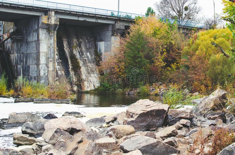 Closed sluices at the old small dam.  royalty free stock images