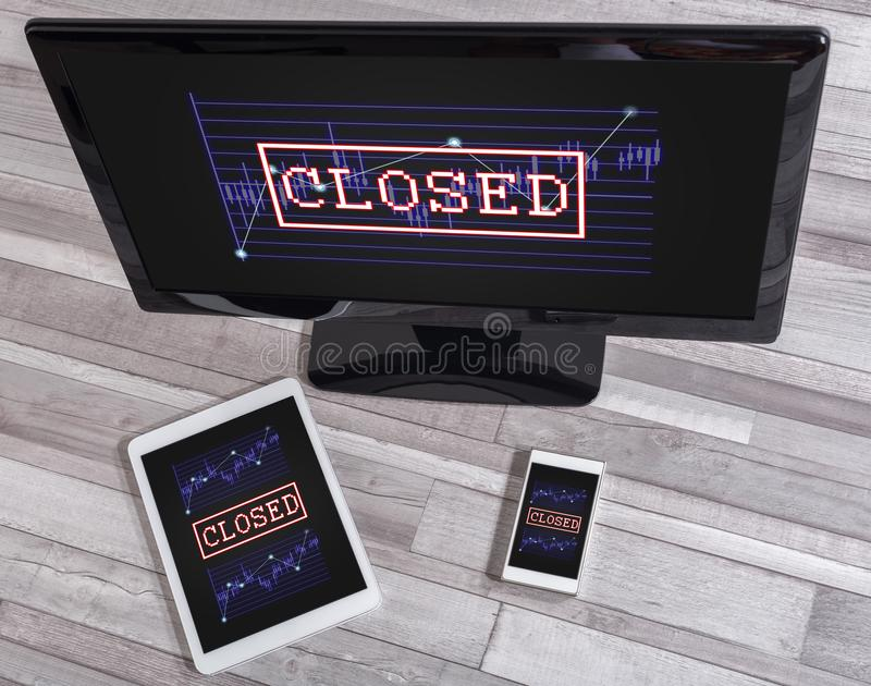Closed stock market concept on different devices royalty free stock image