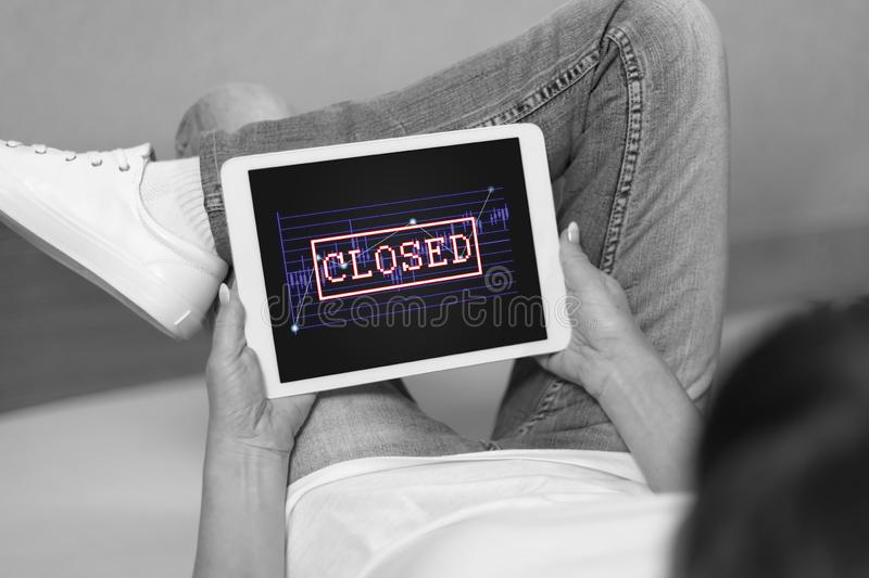 Closed stock market concept on a tablet stock photography