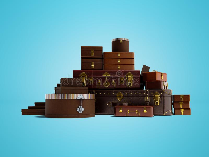Closed suitcases for traveling to warm countries 3d render on bl royalty free illustration