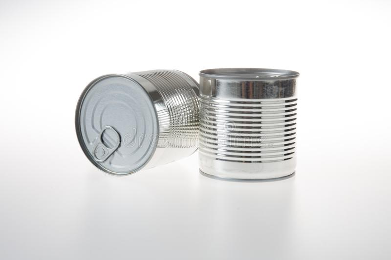 Tin can aluminum canned food metal packaging. Closed Tin can aluminum canned food metal packaging stock photo
