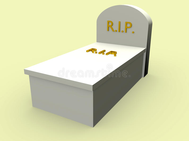 Closed Tomb. With the word rip in gold. Rest in Peace vector illustration