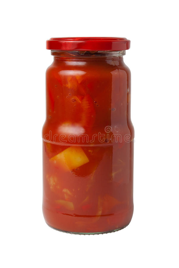 Closed transparent glass jar with canned Lecho (Bulgarian pepper. S in tomato sauce) isolated on white background stock images