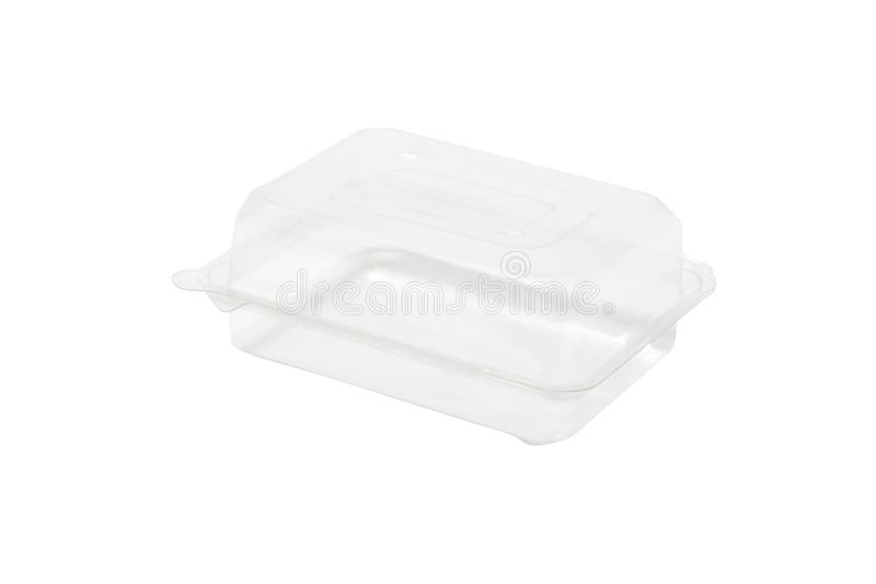 Closed transparent plastic food packaging box isolated on white. Components of the graphic design stock photos