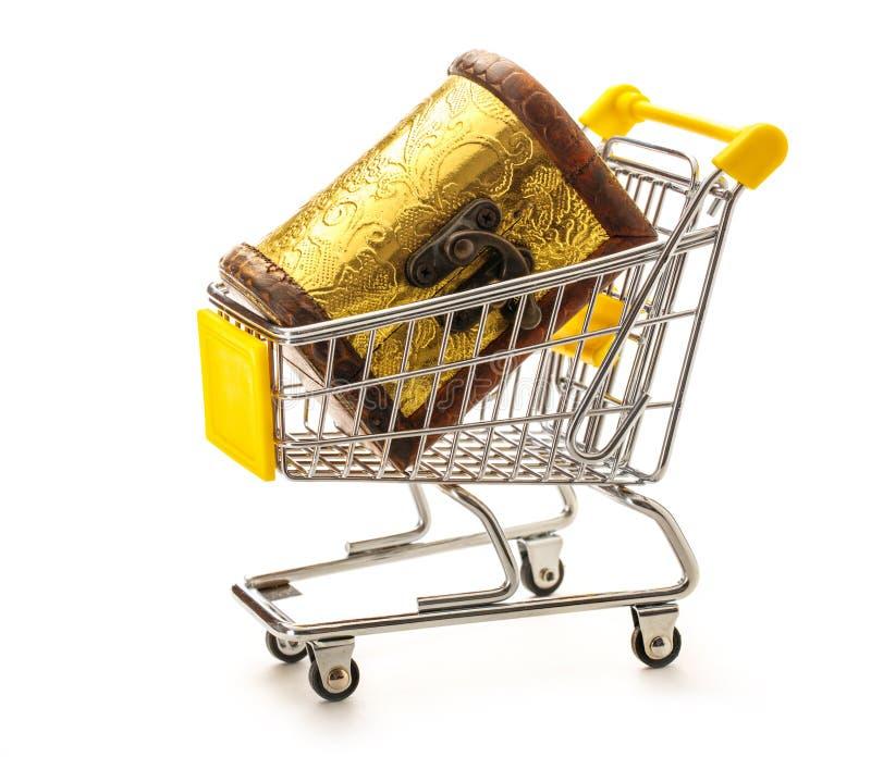 Closed treasure chest in pushcart stock photo