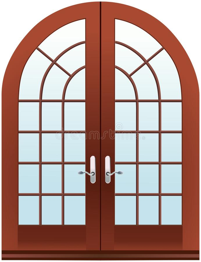 Closed two parts wooden halfmoon doors vector illustration
