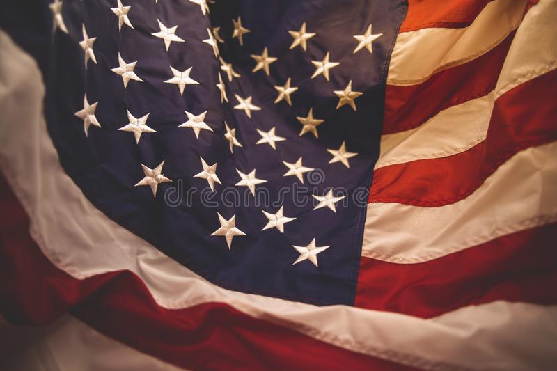 Closed up American flag, red white and blue. American flag with embroided stars on the blue,red and white stripes,the celebration for 4th of July,independent day stock photos