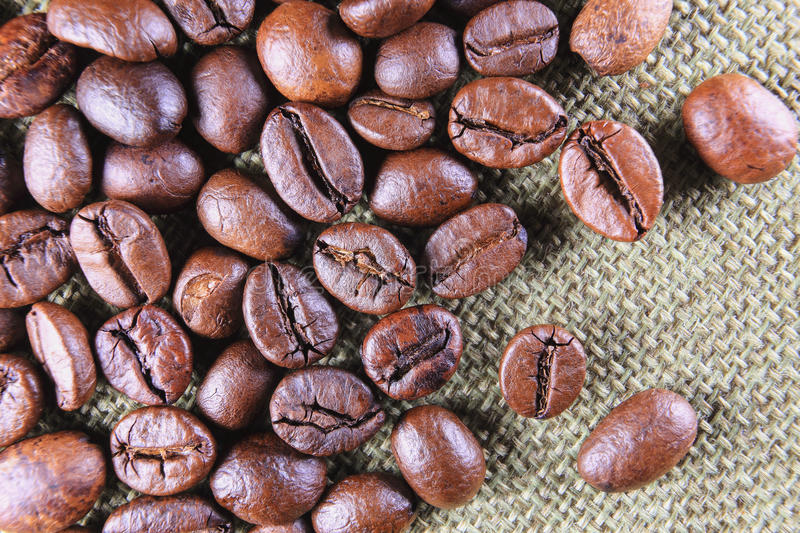 Closed-up coffee beans stock photography