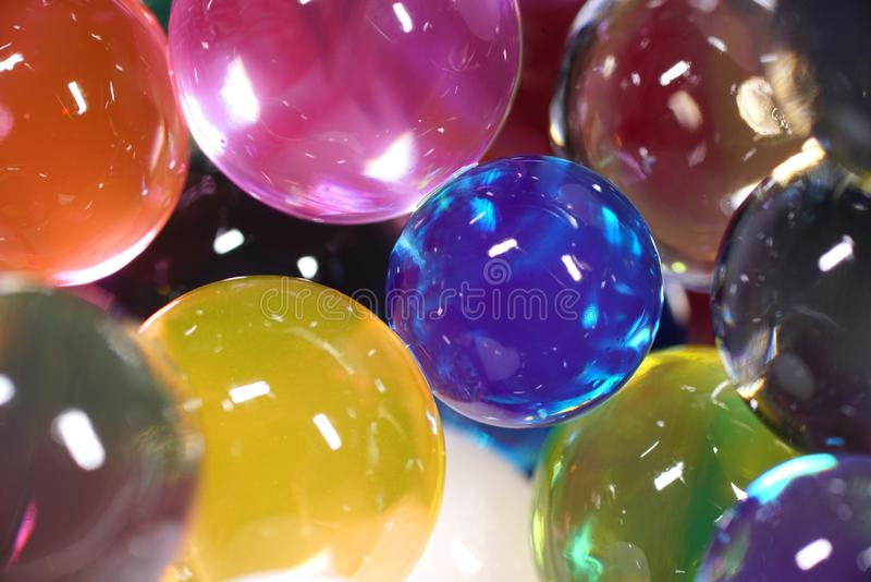 Close up of colorful water beads royalty free stock image