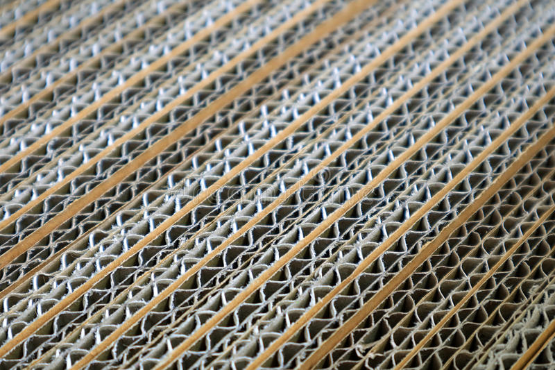 Closed Up Detail of Corrugated Paper Box Texture, Diagonal Pattern royalty free stock images