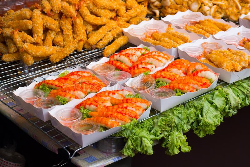 Closed up Fried shrimp street Thai food stock images