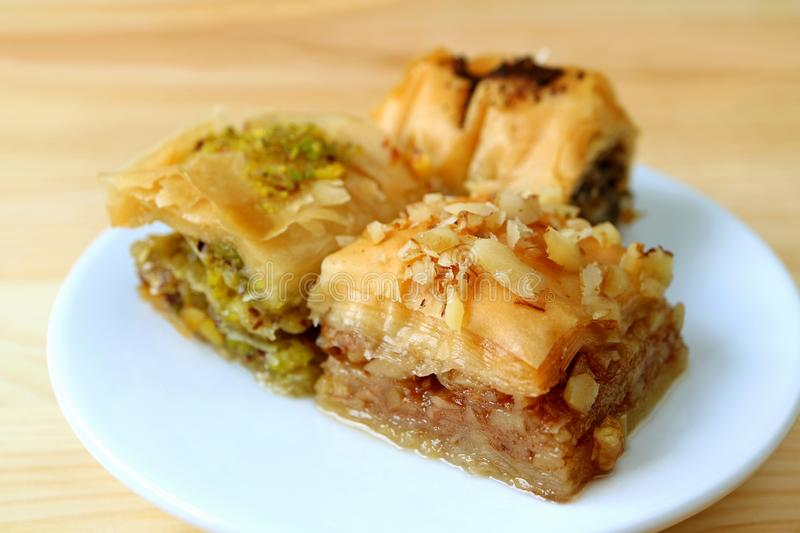Closed up Mouthwatering Baklava Pastries Served on White Plate stock photo