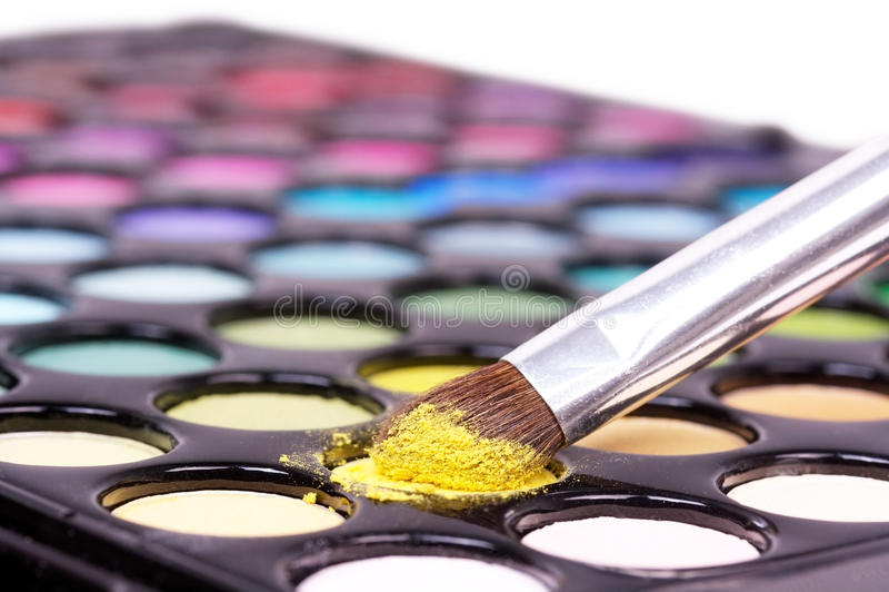 Download Closed-up Professional Make-up Brush On Yellow Mak Stock Photo - Image: 11453162