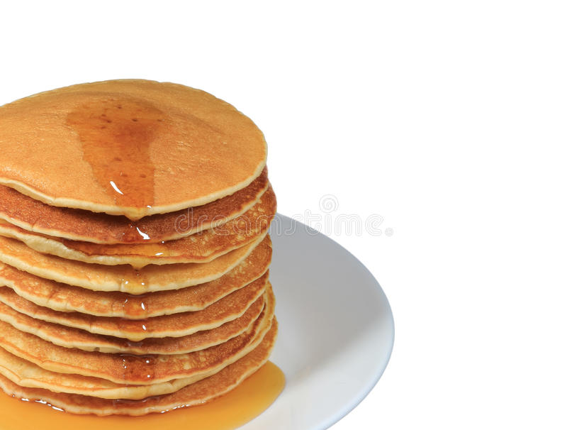 Closed up stack of fresh made pancakes with maple syrup served on white plate, white background with free space for text royalty free stock photo