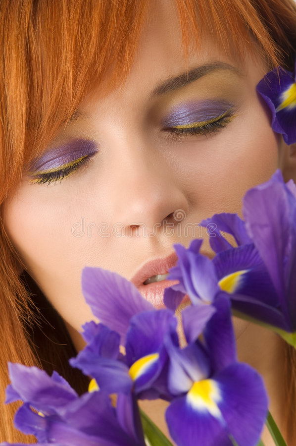 Closed violet eyes stock photo