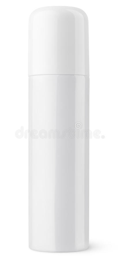 Closed white aerosol spray metal bottle can royalty free stock image
