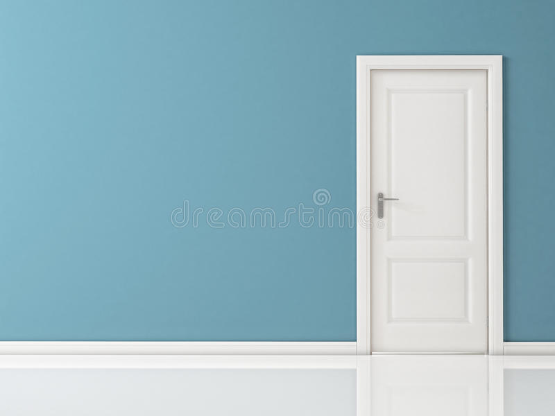 Closed White Door on Blue Wall, Reflective Floor royalty free illustration