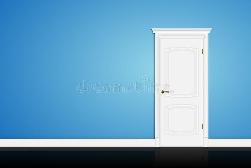 Closed white door on blue wall. Vector vector illustration