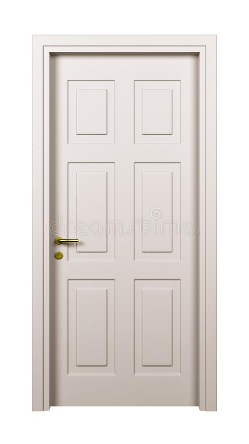 Closed White Door Isolated stock illustration