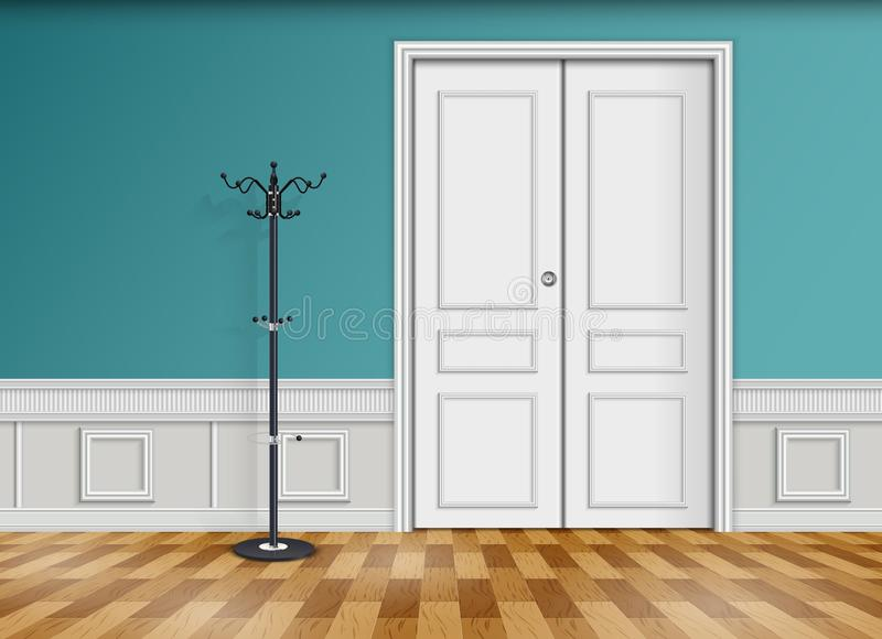 Closed white door with lantern and wooden parquet floor stock illustration