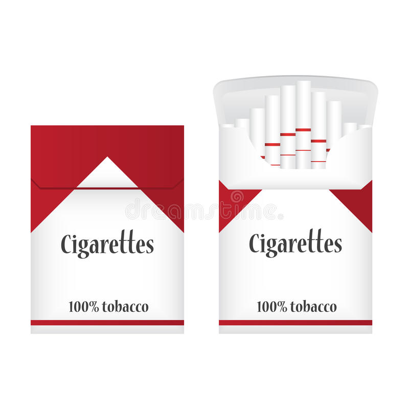 Closed white pack of cigarettes. Open pack of cigarettes. Two Cigarette packs icon. Cigarettes pack illustration stock images