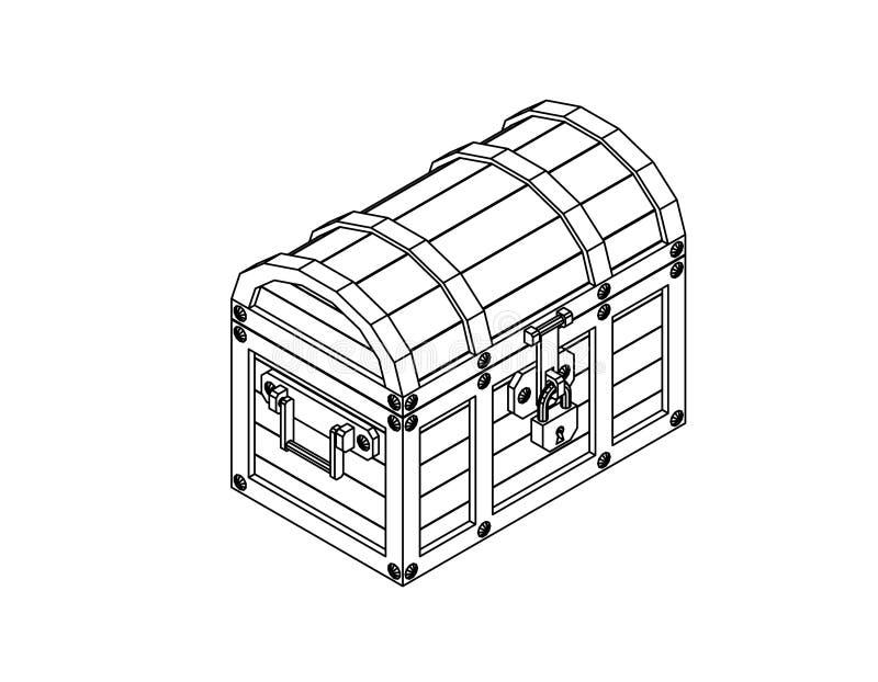 Closed wooden chest. Vector outline illustration. vector illustration