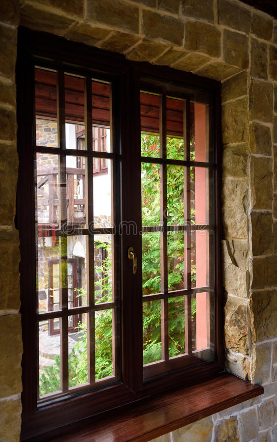Download Closed Wooden Plastic Vinyl Window In Old Interior Stock Photo - Image: 83712284
