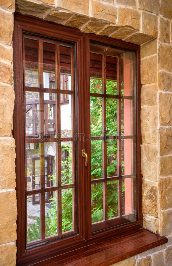 Download Closed Wooden Plastic Vinyl Window In Old Interior Stock Photo - Image: 83712332