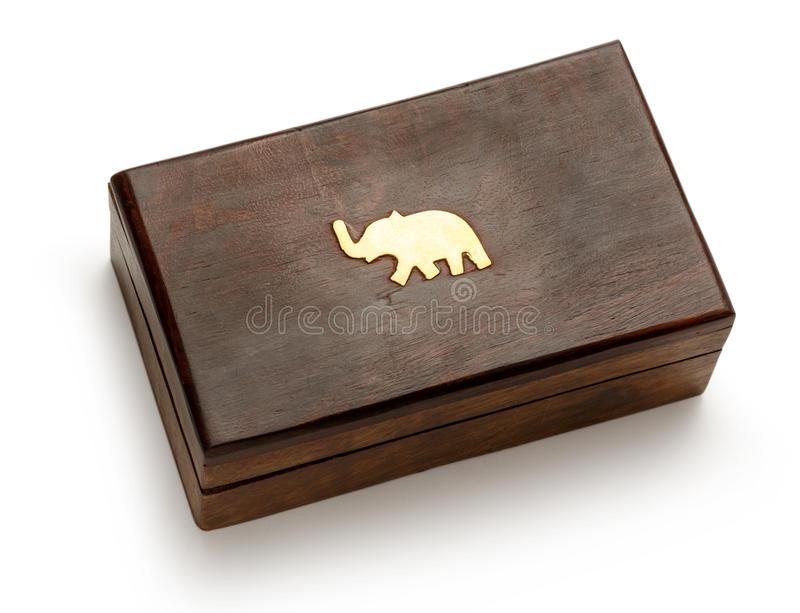 Closed wooden square box royalty free stock photo