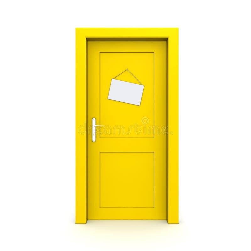 Download Closed Yellow Door With Dummy Door Sign Stock Illustration - Image: 13170865