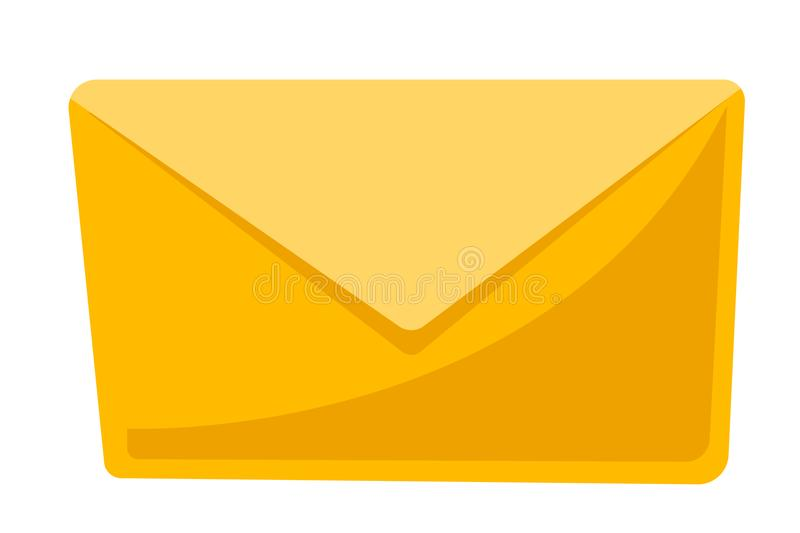 Closed yellow envelope vector cartoon illustration vector illustration