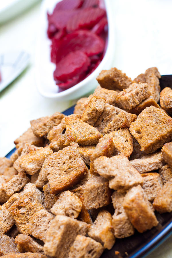 Download Closee Up Of Croutons With Beet In The Backgroung Stock Image - Image of vegetables, closeup: 23226249