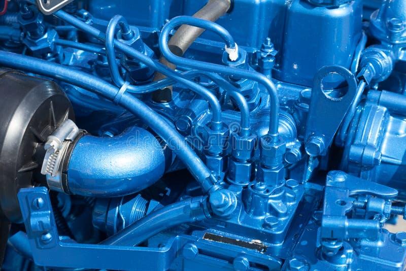 Closeop del motor azul imagen de archivo libre de regalías