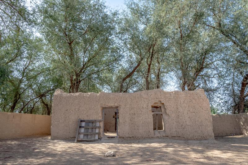 Closer view of Al Dahiri house in Al Qattara Oasis, Al Ain stock photography