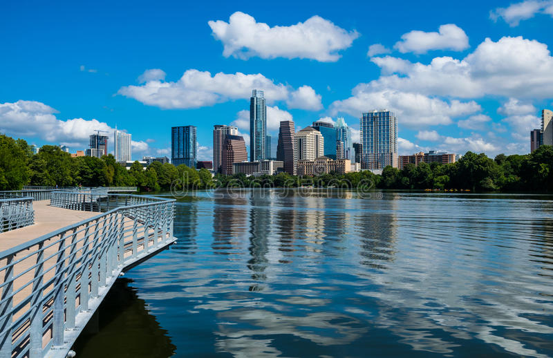 Closer view Austin Texas Riverside Pedestrian Bridge Town Lake Reflections on the water. Austin Texas Riverside Pedestrian Bridge Town Lake Reflections on the stock photography
