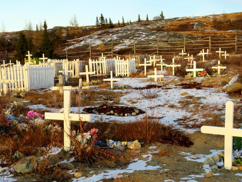 Closer view of the cemetery in Kuujjuaq stock photography